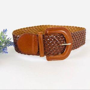Woven brown faux leather belt wide boho look